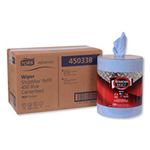 Tork Advanced ShopMax Wiper 450  Centerfeed Refill  9 9x13 1  Blue  200 Roll  2 Rolls Carton (TRK450338)