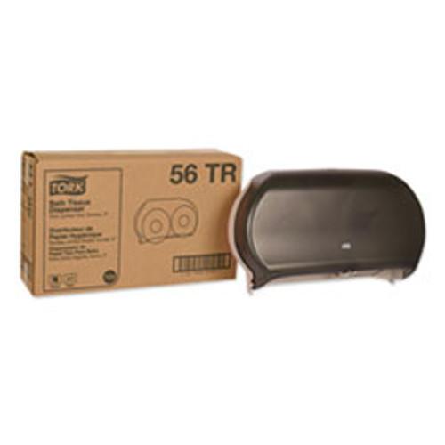 Tork Twin Jumbo Roll Bath Tissue Dispenser  19 29 x 5 51 x 11 83  Smoke Gray (TRK56TR)