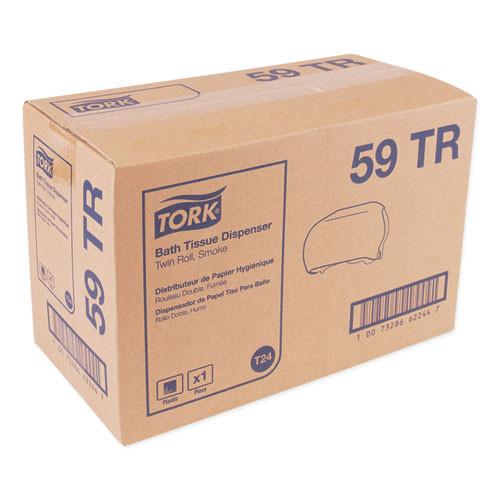 Tork Twin Standard Roll Bath Tissue Dispenser 12 75 x 5 57 x 8 25  Smoke (TRK59TR)