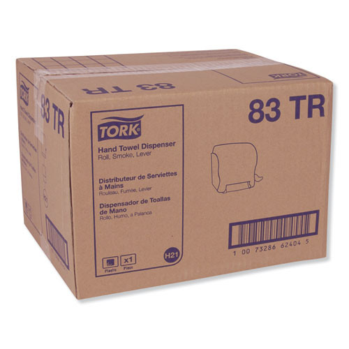 Tork Compact Hand Towel Roll Dispenser  12 49 x 8 6 x 12 82  Smoke (TRK83TR)