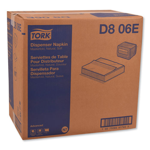Tork Advanced Masterfold Dispenser Napkin  1-Ply  12  x 17   Natural  500 PK  12PK CT (TRKD806E)