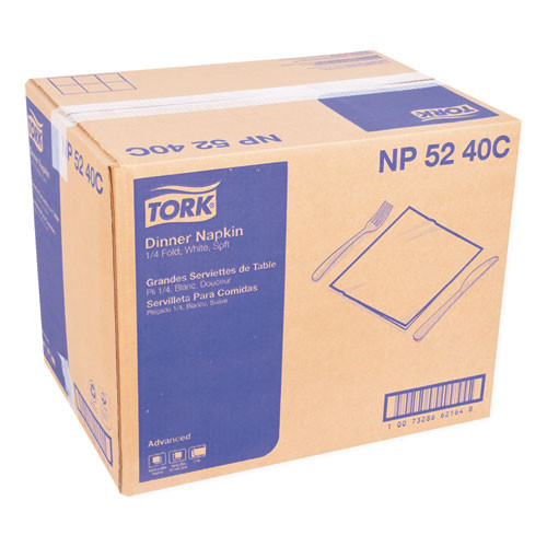 Tork Advanced Dinner Napkins  2-Ply  15  x 16 25   White  375 Pack  8 Packs Carton (TRKNP5240C)