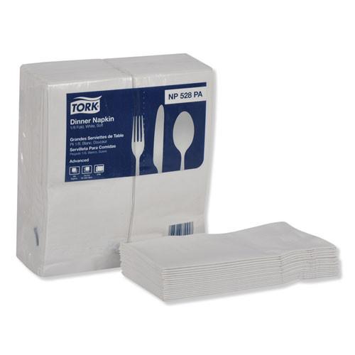 Tork Advanced Dinner Napkins  2-Ply  15  x 17   1 8 Fold  White  100 PK  28 PK CT (TRKNP528PA)