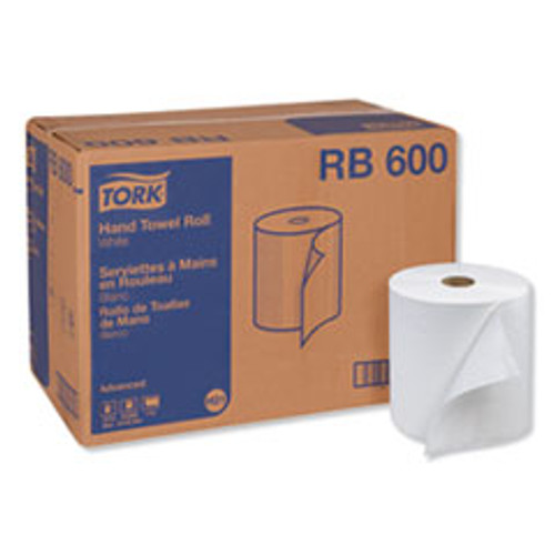 Tork Advanced Hardwound Roll Towel  One-Ply  7 88  x 600 ft  White  12 Rolls Carton (TRKRB600)