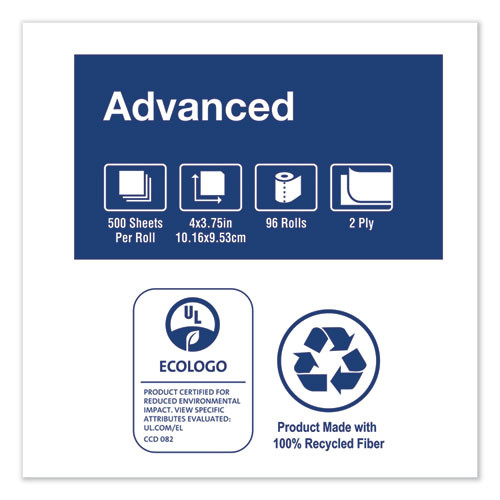 Tork Advanced 2-Ply Bath Tissue  Septic Safe  White  500 Sheets Roll  96 Rolls Carton (TRKTM6120S)
