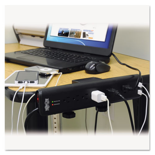 Tripp Lite Protect It  Clamp-Mount Surge Protector  6 Outlets 2 USB  6 ft  Cord  2100 J (TRPTLP606DMUSB)