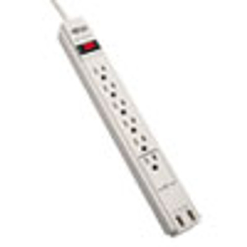 Tripp Lite Protect It  Surge Protector  6 Outlets 2 USB  6 ft  Cord  990 Joules  Gray (TRPTLP606USB)