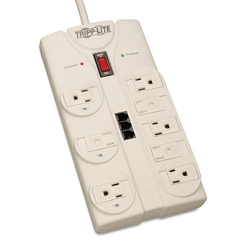 Tripp Lite Protect It  Computer Surge Protector  8 Outlets  8 ft  Cord  2160 J  Light Gray (TRPTLP808TEL)