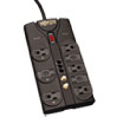 Tripp Lite Protect It  Surge Protector  8 Outlets  8 ft  Cord  2160 Joules  RJ11  Dark Gray (TRPTLP808TELTV)