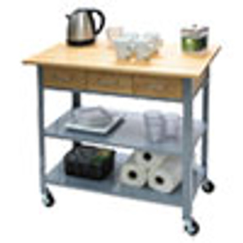 Vertiflex Countertop Serving Cart  35 5w x 19 75d x 34 25h  Silver Brown (VRTVF53039)