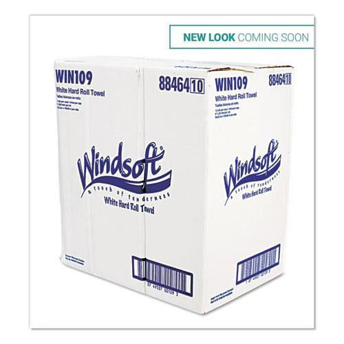 Windsoft Hardwound Roll Towels  8 x 350 ft  White  12 Rolls Carton (WIN109B)