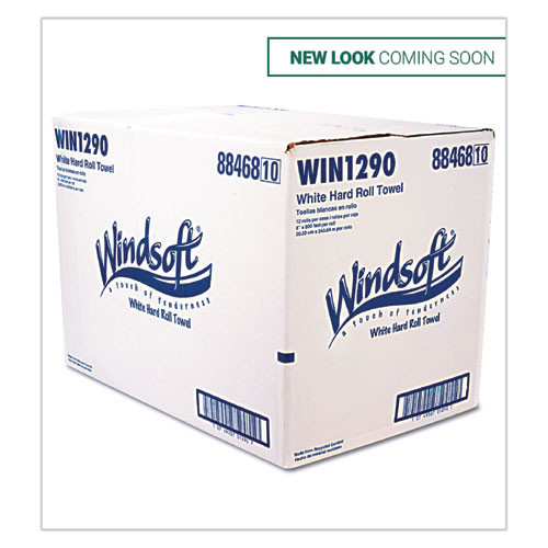 Windsoft Hardwound Roll Towels  8 x 800 ft  White  12 Rolls Carton (WIN1290B)