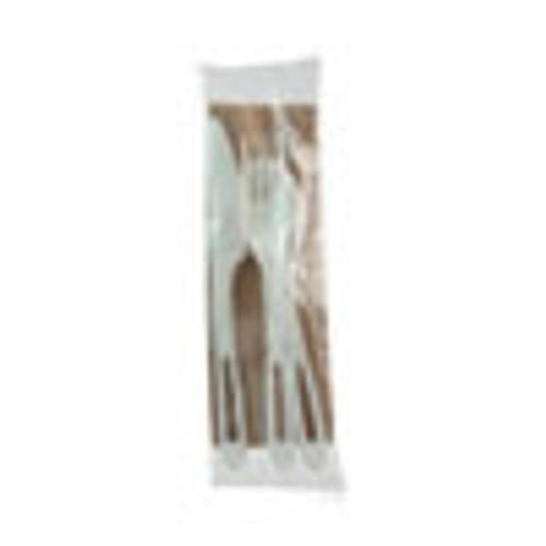 World Centric TPLA Compostable Cutlery  Knife Fork Spoon Napkin  6   White  250 Carton (WORASPSTN)