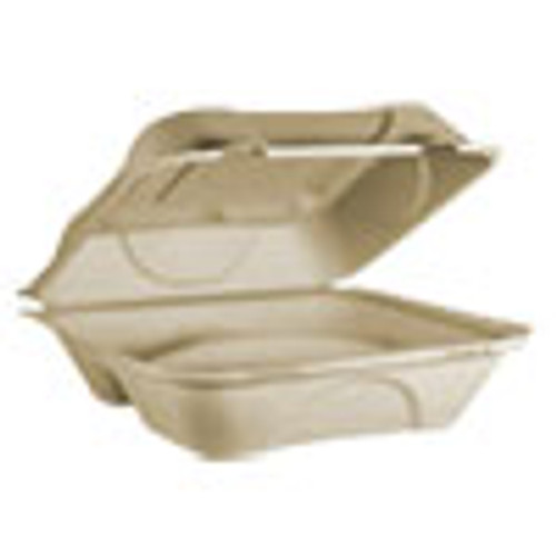 World Centric Fiber Hinged Containers  3 Compartments  9 x 9 x 3  Natural  300 Carton (WORTOSCU9T)
