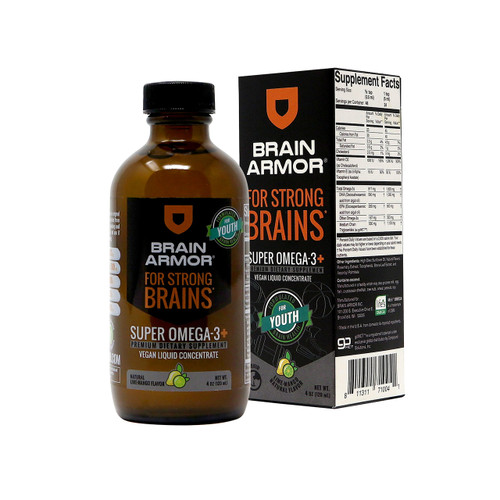 Brain Armor Youth Brain Nutrient Formula - Vegan Liquid Concentrate, Lime-Mango 4oz (24 Servings)