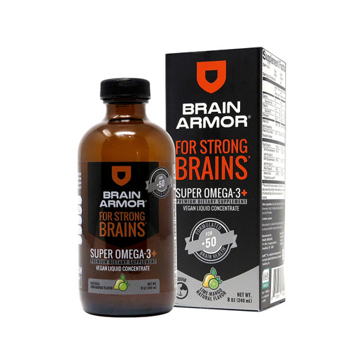 Brain Armor Adult 50+ Brain Nutrient Formula - Vegan Liquid Concentrate, Lime-Mango 8oz (24 Servings)