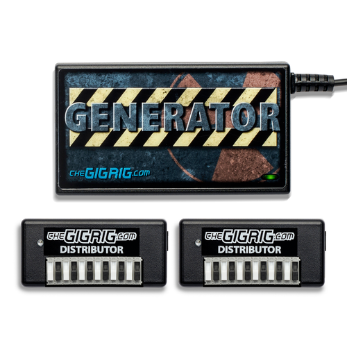The GigRig Modular Power Base Pack 2: 1 x Generator ( Choose your 2m Mains Lead) + 2 x Distributor ( 12 X DC leads Included)+ 6 Free DC Leads