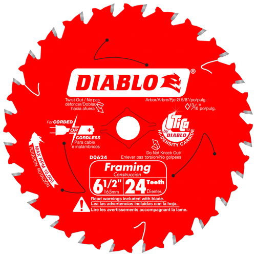 6‑1/2 in. x 24 Tooth Framing Trim Saw Blade