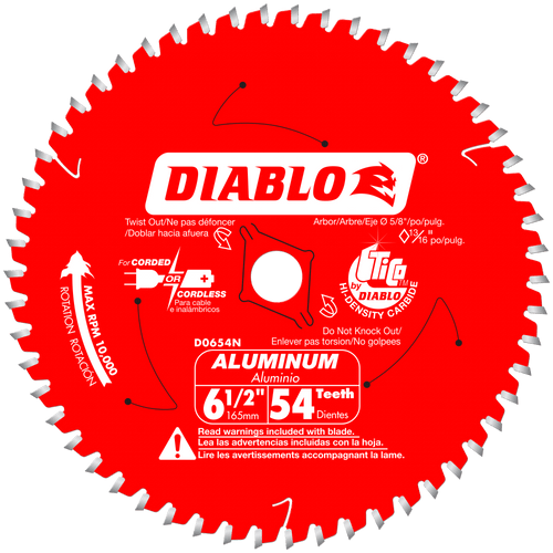 6‑1/2 in. x 54 Tooth Medium Aluminum Cutting Saw Blade