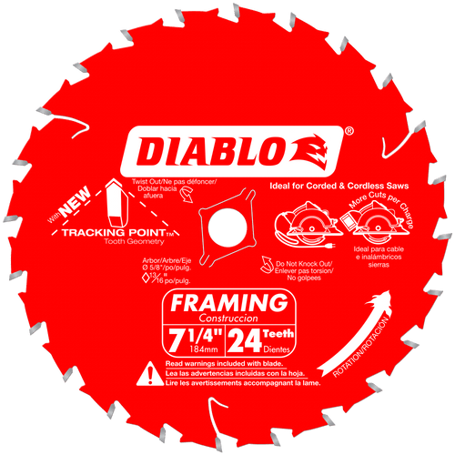 7‑1/4 in. x 24 Tooth Framing Saw Blade