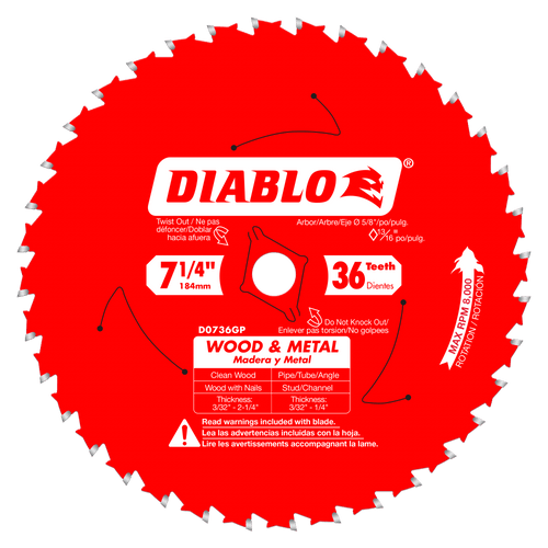7‑1/4 in. x 36 Tooth Wood & Metal Carbide Saw Blade