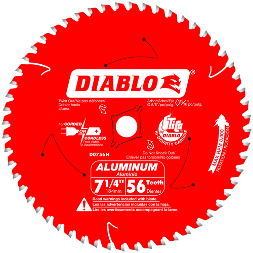 7‑1/4 in. x 56 Tooth Thick Aluminum Cutting Saw Blade