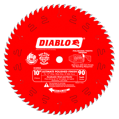 10 in. x 90 Tooth Ultimate Polished Finish Saw Blade