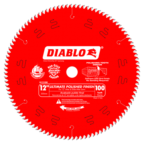 12 in. x 100 Tooth Ultimate Polished Finish Saw Blade