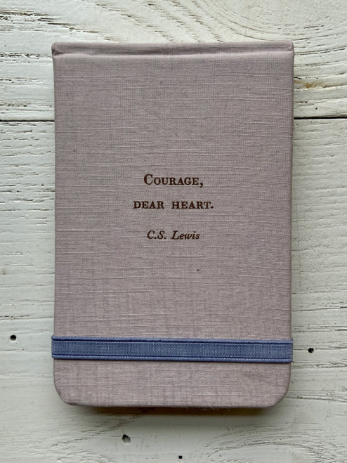 Courage, Dear Heart Lewis Pocket Linen Journal  Purple