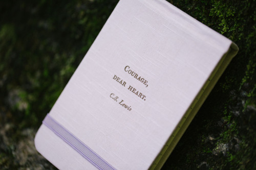 Courage, Dear Heart Lewis Pocket Linen Journal  Purple