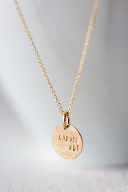 Choose Joy Round Gold  Necklace