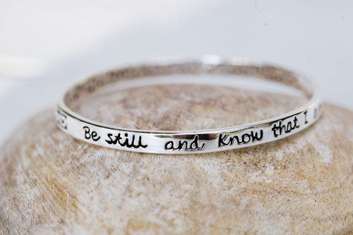 Be Still and Know Small Silver Scripture Bangle