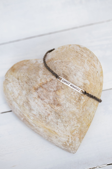 Expect Miracles Silver Bar Cord Bracelet Adjustable