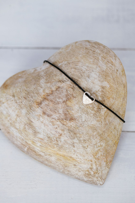 Tiny Heart Black Cord Bracelet