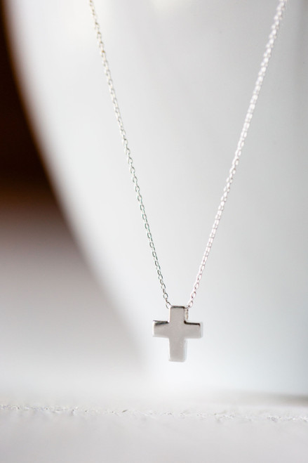 Tiny Cross Silver Necklace