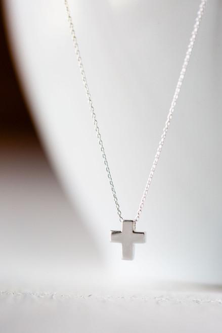 Tiny Cross Silver Necklace
