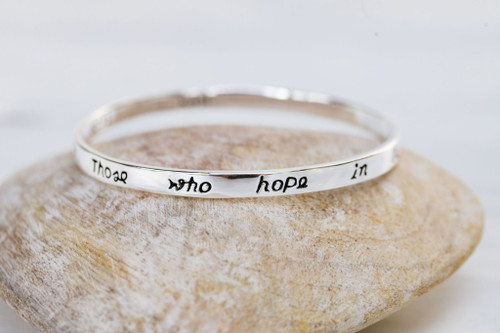 Those Who Hope Small Silver Scripture Bangle