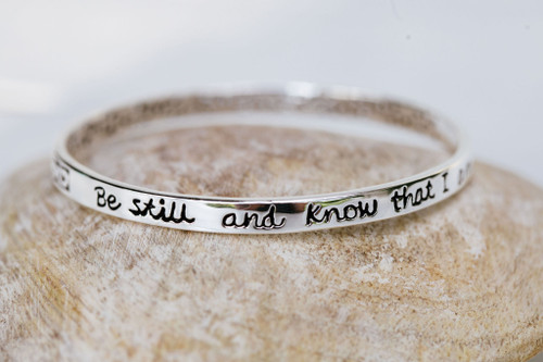 Be Still and Know Large Silver Scripture Bangle