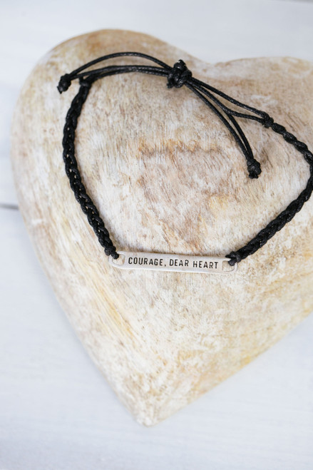 Courage, Dear Heart Black Cord Adjustable Bar Bracelet