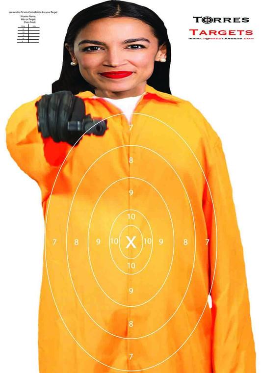Alexandria Ocasio-Cortez Target - Prison Escapee With Rings