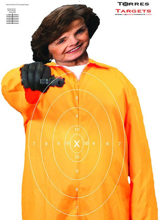 Dianne Feinestein Shooting Target - Prison Escapee with rings