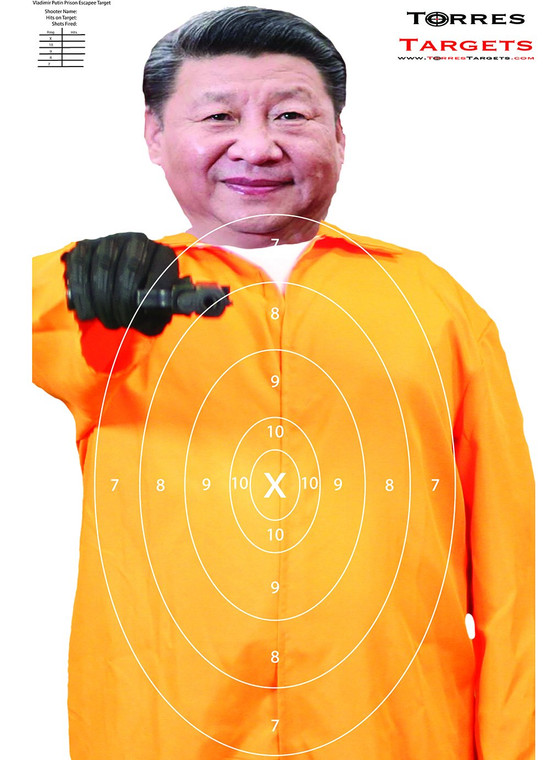 Xi Jinping  Shooting Target - Prison Escapee  With Rings