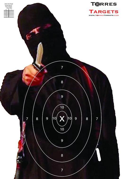 Jihadi John Shooting Target with rings