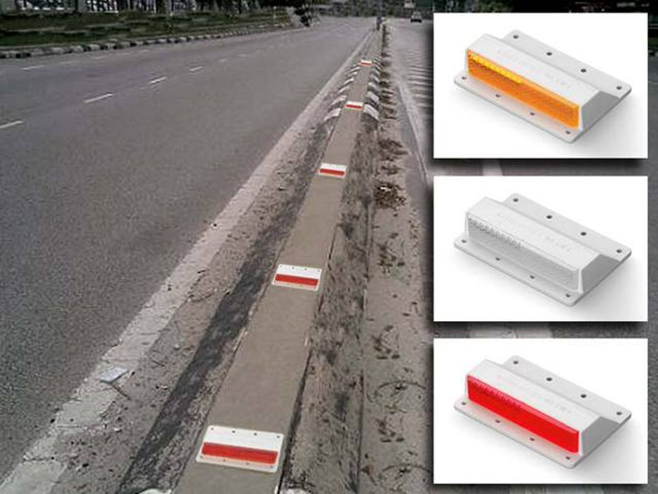 Lot of 10 1-Way White Pexco 4 Flexible Temporary Raised Pavement Marker