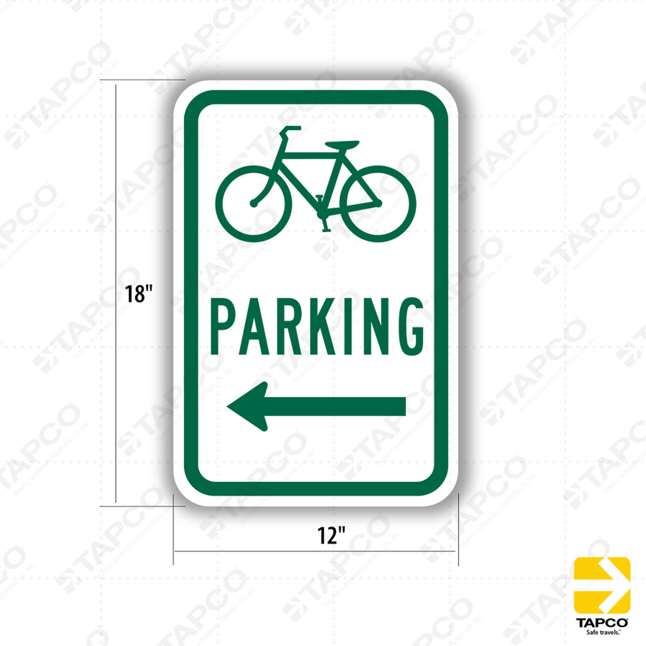 Bicycle parking arrow right Safety sign