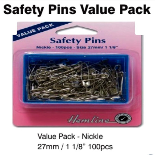 Safety Pins - 27mm Nickle 100 pcs