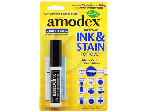 Amodex - Non-Toxic and Eco Friendly Ink & Stain Remover Travel with Brush 15 ml