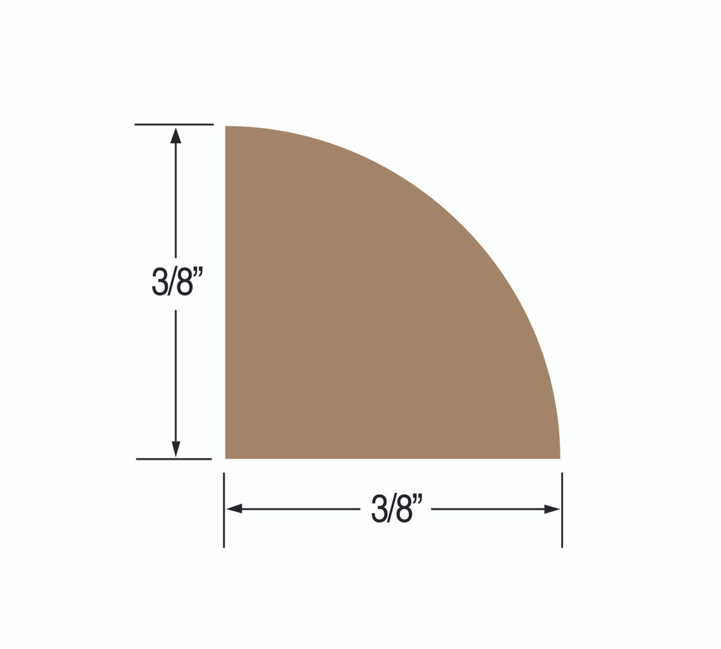 "Teak Quarter Round Molding; Small 3/8"" (Part #60851)"
