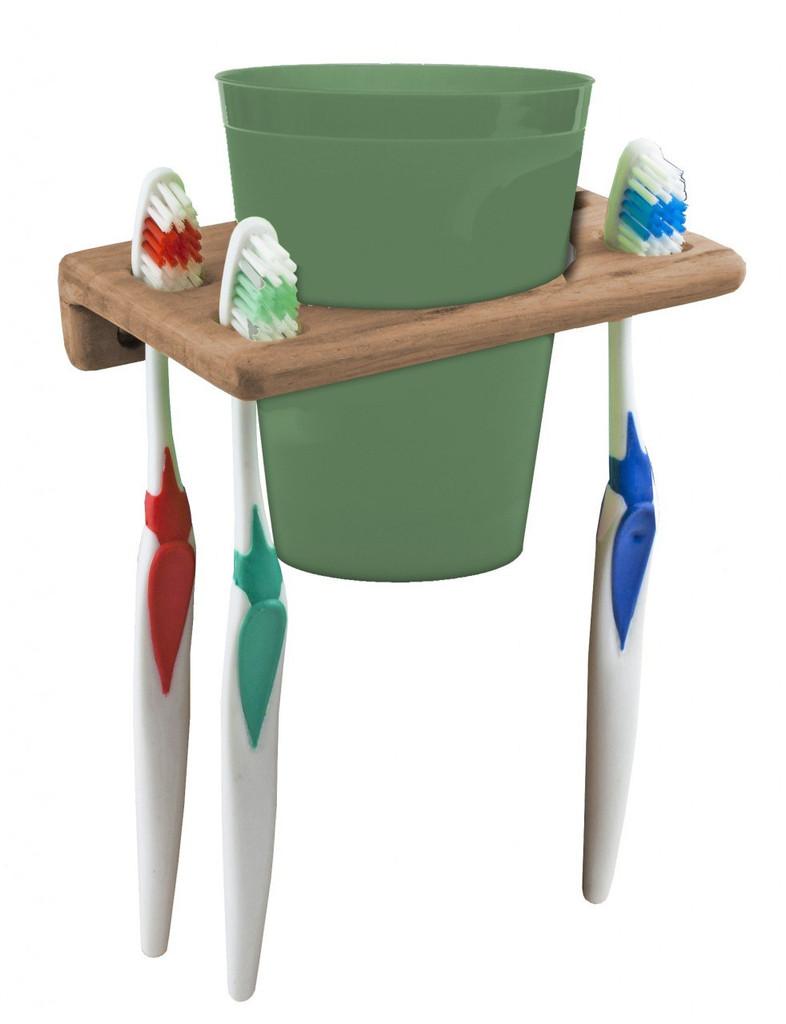 Teak Cup & Toothbrush Holder