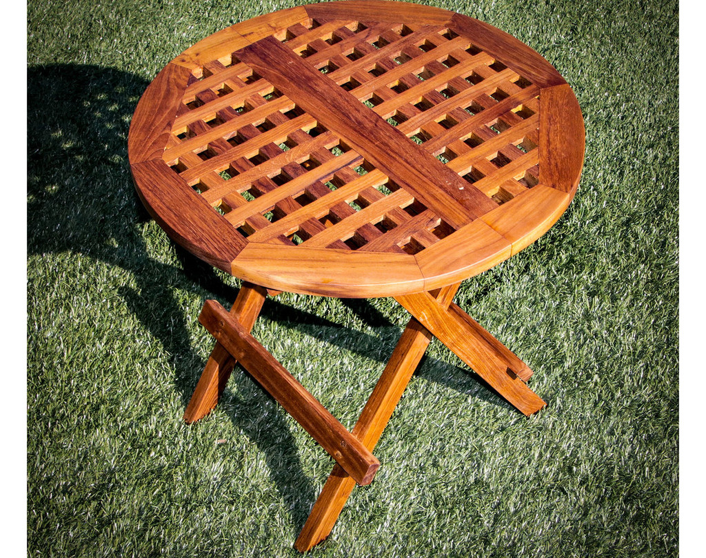 SeaTeak Round Folding Deck Side Table